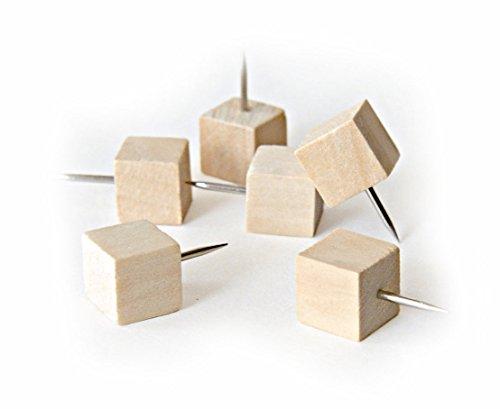 25 Novelty Square Cube Style Wood Push Pins or Thumb Tacks