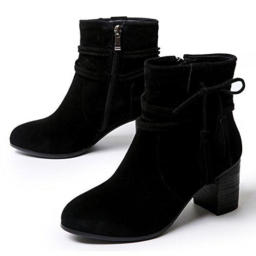 Gommage per autunno/inverno stivali/Rough casual stivali con nappine/ turno tacco biker boots/ gli stivali da lavoro-A Lunghezza piede=23.3CM(9.2Inch)