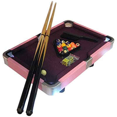 Laura Mini Purple and Pink Pool Table Game with Leatherette Case - 19 Inch