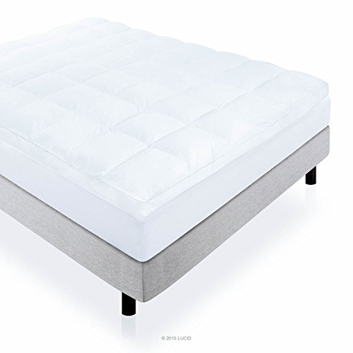 LUCID 3 Inch High Plush Down Alternative Fiber Bed Topper - Allergen Free - Queen Size