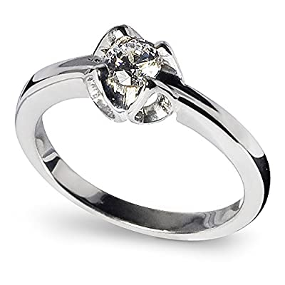 Stunning Sterling Silver Solitaire Engagement Ring with Diamond Cut Cubic Zirconia (5mm diameter). Available in all sizes between G and Z+3