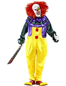 Smiffy's Men's Classic Horror Clown Costume with Jumpsuit and Mask, Multi, Large