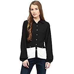 Rare Black Georgette Solid Long Sleeves Shirts For Women