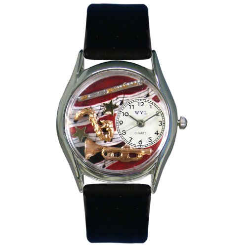 Whimsical Watches Women's S0510015 Wind Instruments Black Leather Watch