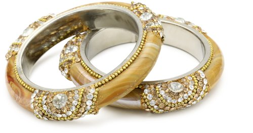 Chamak by priya kakkar Base Metal Light Gold Crystal and Glass Bangle Bracelet