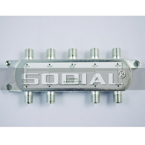 SODIAL(R) 8 voie C?ble coaxial RF/ršŠpartiteur TV pour signal CATV