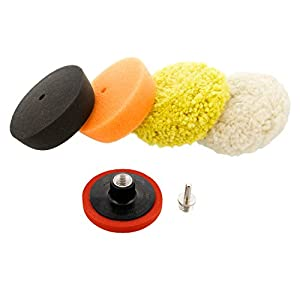 """TCP Global® 3"""" Mini Buffing and Polishing Pad Kit with 4 Pads, Backing Plate, and 1/4"""" Drill Adapter"""