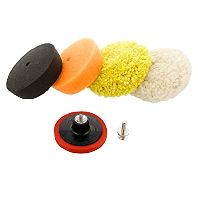 """TCP Global 3"""" Mini Buffing and Polishing Pad Kit with 4 Pads, Backing Plate, and 1/4"""" Drill Adapter"""