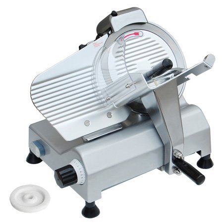 "19X 18.7X 16.5 Inch Pro Commercial 10"" Steel Blade 240W 1/3Hp Kitchen Electric Food Slicer 0-17Mm Heavy Duty For Meat Chopper Butcher Cutter Equipment Deli Shop"