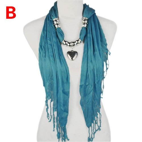 Blue pendant scarf heart charms jewellery scarves
