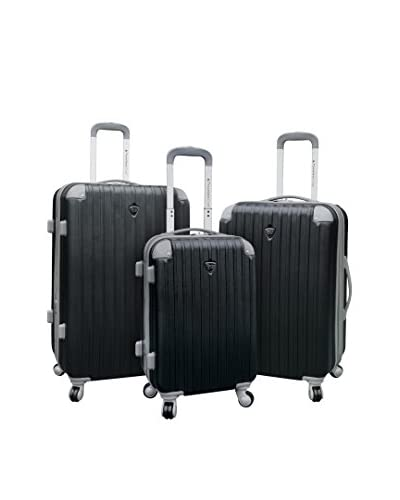 Travelers Club Chicago Collection 3-Piece ABS Luggage Set with a 360˚ Wheel System, Black