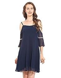 Solid Navy Blue Polyester Skater Dress X-Large