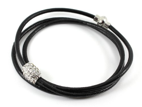Wrap Bracelet / Wrap Around Bracelet with Crystal Encrusted Bead - Faux Leather with Magnetic Clasp - Includes Gift Box