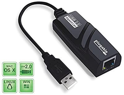 Plugable USB 2.0 to 10/100/1000 Gigabit Ethernet LAN Wired Network Adapter for Windows, Mac, Chromebook, Linux/Unix (ASIX AX88178 Chipset)