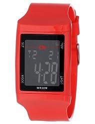 Montre The One Digital avec bracelet rouge en PU et affichage digitale gris sur fond noir