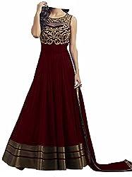 Shiv Fashion Women's Georgette Semi Stitched Dress Material Marron - (Free Size)