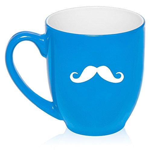 16 Oz Light Blue Large Bistro Mug Ceramic Coffee Tea Glass Cup Mustache
