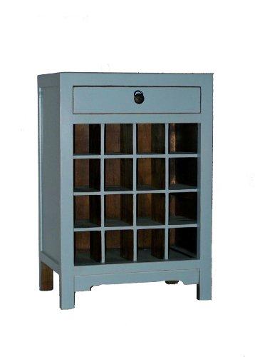 Cheap Antique Revival Wine Cabinet End Table, Aqua (CB088 AQUA)