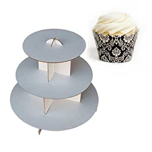 Dress My Cupcake DMC30744 Cardboard Cupcake Stand Kit with Standard Wrappers, Ivory/Damask