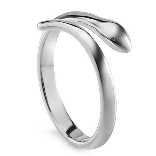 JEWME 925 Sterling Silver Jewelry Snake Tail Ring Adjustable Finger Opening Wrap Serpent 6.5-9 (Snake Tail Ring compare prices)