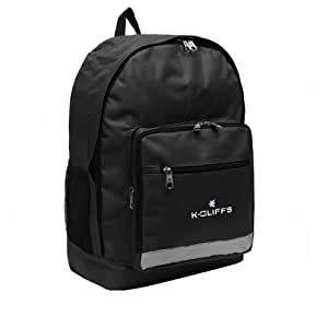 K-Cliffs Black Polyester School Backpack/ Outdoor Backpack/ Hiking Backpack with Reflective Strip