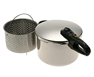 Fagor 8-Quart Stainless-Steel Pressure Cooker with Steamer Basket by Fagor