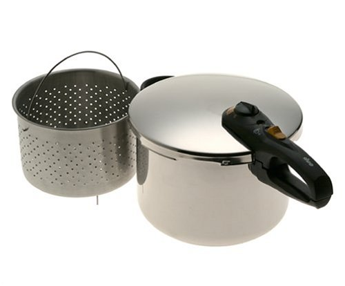 Fagor 8-Quart Stainless-Steel Pressure Cooker with Steamer Basket