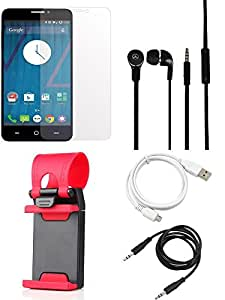 NIROSHA Tempered Glass Screen Guard Cover Case Headphone USB Cable Mobile Holder Combo for YU Yureka Combo
