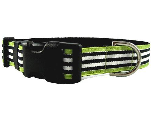 Small Manhattan Mod Black & White on Green Stripe Dog Collar: 1