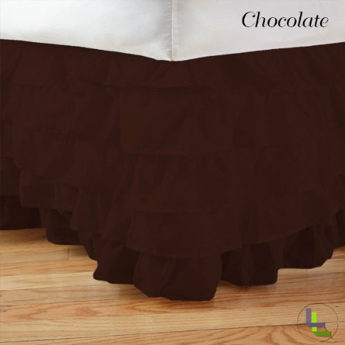 Masterlinens 1Pcs Multi Ruffle Bedskirt Solid (Drop Length: 22 Inches) King Xl 300Tc 100% Egyptian Cotton High Quality Chocolate Solid front-814077