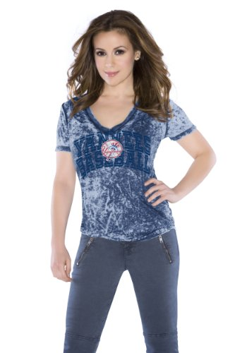 MLB Women's New York Yankees Burnout V-Neck Cap Sleeve Tee (Navy, Large) at Amazon.com