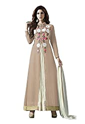 VIHA Brown Women's Embroidered Georgette Unstitched Dress Material