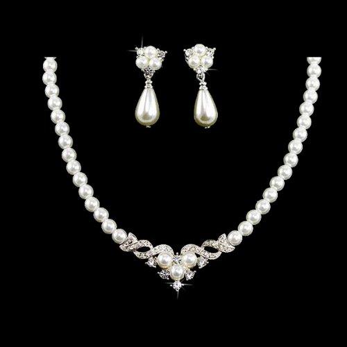 Bridal Wedding Jewelry Set Austrian Crystal Pearl