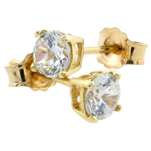 14K Gold 4 mm CZ Stud Earrings Brilliant Cut Basket Set 1/2 Carat Size