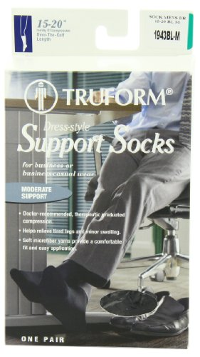 Truform, 15-20 Mmhg Of Compression, Mens Dress Overcalf, Medium, Black (Pack Of 2)
