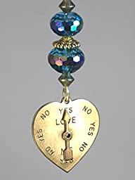 Love Me Love Me Not Heart with Spinner Arrow & Iridescent Blue Glass Rear View Mirror Car Accessory Ornament