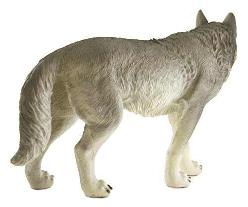 Large Walking Standing Gray Wolf Sculpture Statue Figure