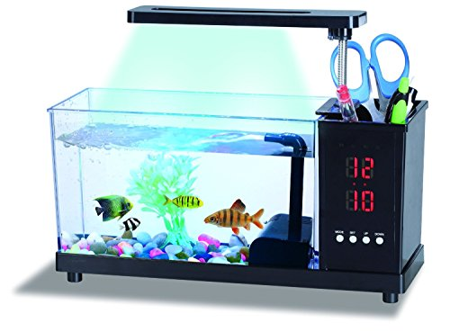 USB Desktop Aquarium Black 1.6litre with 16white LED and 2 Colored LED Lamp and Time with Alarm Clock