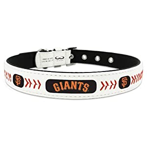 MLB San Francisco Giants Classic Leather Baseball Dog Collar (Large)