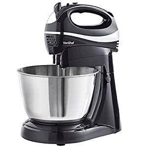 VonShef 2 in 1 Twin Hand and Stand Mixer, Black, 300W, Free 2 Year Warranty, with 5 Speeds & Turbo Function includes 3.5L Bowl, 2x Beaters, 2x Dough Hooks & Whisk by VonShef