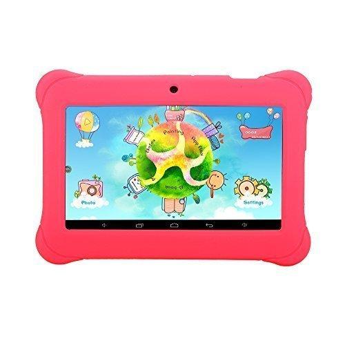 iRULU BabyPad Y1 Tablet PC, Android 4.4 Kitkat, Quad Core, 8 GB Nand Flash, GMS zertifiziert von Google, 1GB RAM, 7 Zoll mit Auflösung 1024 * 600, Rosa, mit rosa Silikonhülle