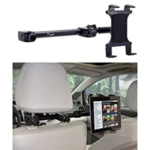 Premium Multi Passenger Universal Headrest Cradle Car Mount for Apple ipad / ipad 2 / ipad 3 / ipad 4 / ipad Air and ipad Mini w/ Swivel Vibration Free Arm Extender (revised version - use with all 7-12 inch tablets)