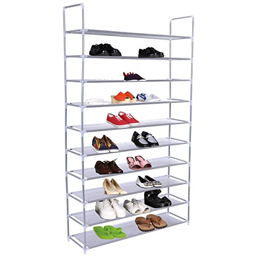 NEW 50 Pair 10 Tier Space Saving Storage Organizer Free Standing Shoe Tower Rack (Expresso Storage Bins compare prices)