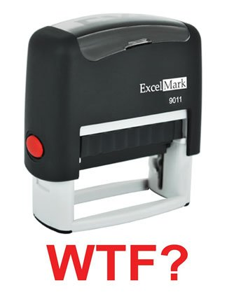 WTF? Red Stock Self-Inking Rubber Stamp