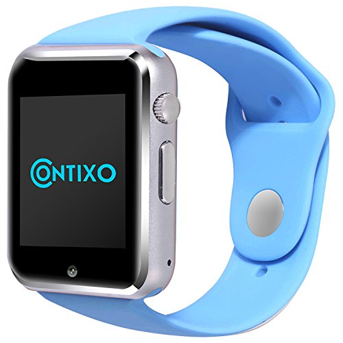 *Christmas Sale* Contixo Smart Watch Phone /Bluetooth/Easy Connection/Make Calls/Support SIM/TF for Apple iPhone 5s/6/6s and Android 4.2 or Above SmartPhones (Blue)