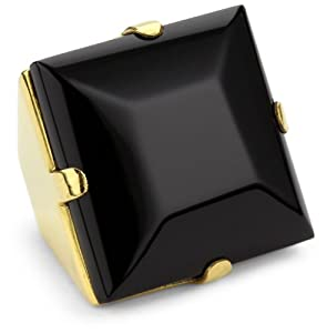 Charmed Circle Black Onyx Square Cocktail Ring, Size 8