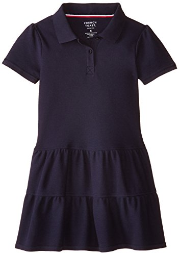 French Toast Little Girls' Ruffled Pique Dress, Navy, 5