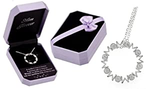 MOM Forever Crystal Infinity Circle Necklace - Gift Boxed