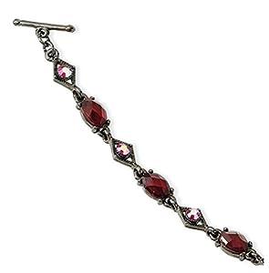 Black-plated Red Aurora Borealis Crystalstal Toggle 7.25in Bracelet