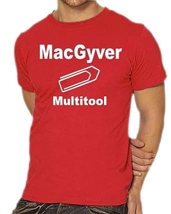 Touchlines Herren T-Shirt MacGyver - Multitool Kult Shirt  XXXL, Red